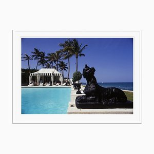 Poolside Luncheon Oversize C Print Framed in White by Slim Aarons