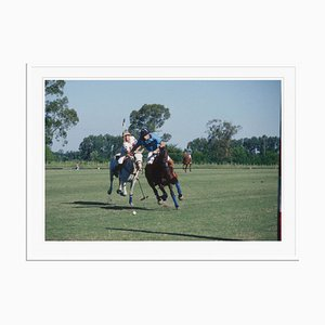 Argentine Polo Match Oversize C Print Framed in White by Slim Aarons