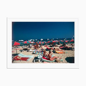 Beach at St. Tropez Oversize C Print Framed in White by Slim Aarons