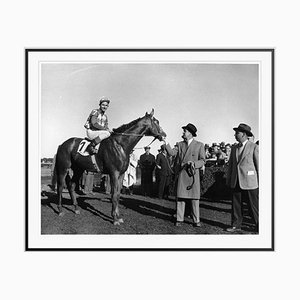 Belmont Winner Silver Fibre Gelatin Print Framed in Black by Slim Aarons