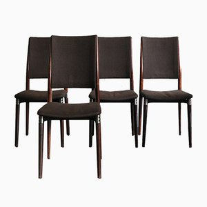 Italian Rosewood Model S81 Dining Chairs by Eugenio Gerli for Tecno, 1950s, Set of 4