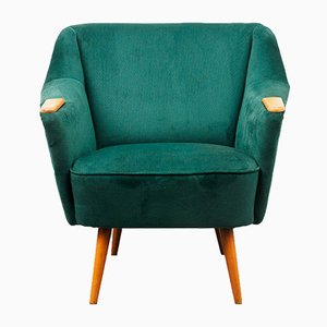 Dark Green Suede Cocktail Chair, 1950s