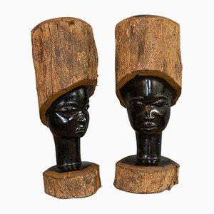 Têtes Sculptées Antiques, Set de 2