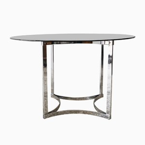 Glass & Chrome Dining Table from Merrow Associates, 1970s