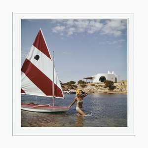 Bettina Graziani Oversize C Print Framed in White by Slim Aarons