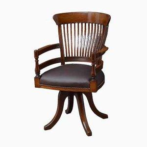 Antique Revolving Desk Chair in Mahogany