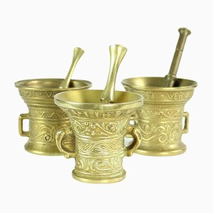 Vintage Brass Pestle & Mortars, Czechoslovakia, 1950s, Set of 3