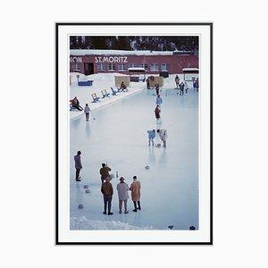 Curling in St Moritz Oversize C Print Framed in Black by Slim Aarons