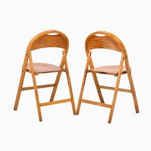 Vintage Bentwood Model 751 Folding Chairs by Michael Thonet for Thonet, Set of 2