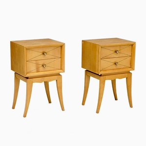 Satin Birch Bedside Drawers, 1930s, Set of 2