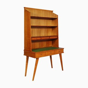 Mid-Century Modern Ahornholz Schreibtisch mit Bücherregal im Stil von Ico Parisi, 1950er