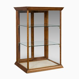 Antique English Walnut Shop Display Cabinet