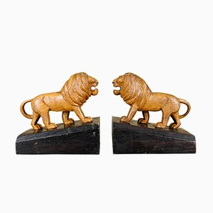 Handmade Wooden Lion Bookends, 1920s, Set of 2