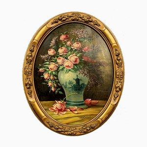 Aceite Still Life antiguo sobre lienzo de Eugène Henri Cauchois