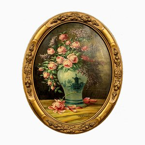 Antique Still Life Oil On Canvas by Eugène Henri Cauchois