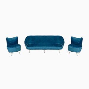 Sofá vintage de terciopelo azul y butacas de Ico Luisa Parisi, años 50. Juego de 3