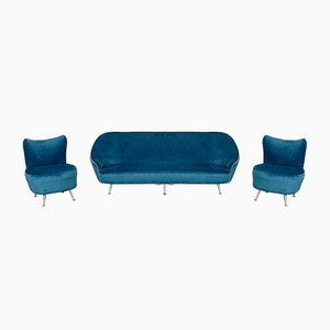 Vintage Blue Velvet Sofa & Armchairs by Ico Luisa Parisi, 1950s, Set of 3