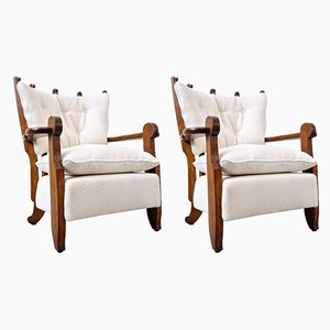 Armchairs by Guillerme et Chambron, 1950s, Set of 2