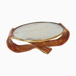 Italian Brass, Pine & Glass Wristwatch Coffee Table, 1950s