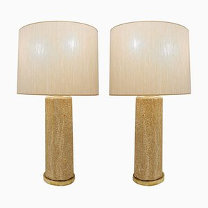 Mid-Century French Stone Lamps, Set of 2
