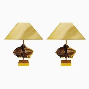 Tischlampen aus Bronze von Charles Maison, Frankreich, 1980er, 2er Set