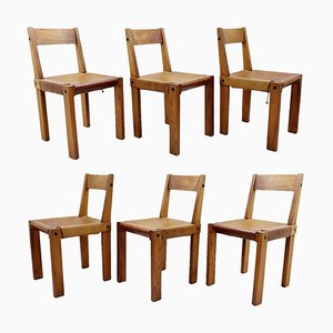 Wood and Leather S24 Dining Chairs by Pierre Chapo, France, 1960s, Set of 6