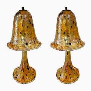 Pilzförmige Lampen aus Glaspaste, 1960er, 2er Set