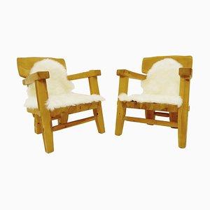 Scandinavian Wood Armchairs, 1960s, Set of 2