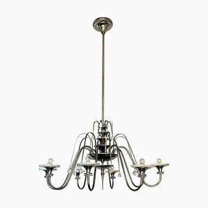 Large Art Deco Chrome Chandelier, 1920s