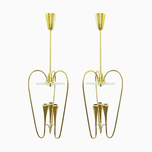 Italian Brass and Glass Pendant Lamps in the Style of Fontana Arte, 1970s, Set of 2
