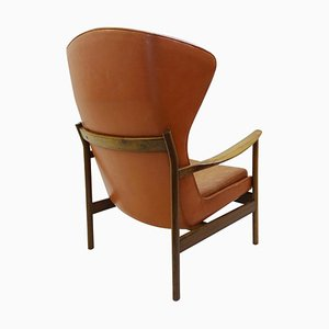 High Back Armchair in Wood and Leather, 1960s