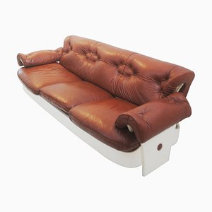 Sofa in Leather and Lacquered Wood, Italy, 1980s