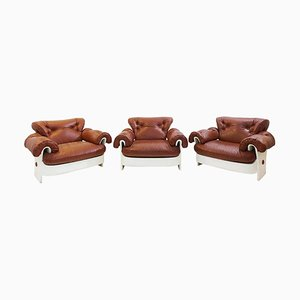 Armchairs in Leather and Lacquered Wood, Italy, 1980s, Set of 3