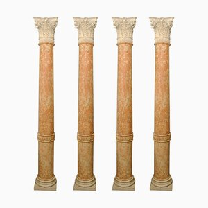 19th Century Half-Columns in Red Verona Marble and Vincenza Stone, Set of 4