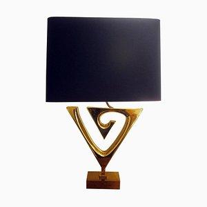 Vergoldete Messing Tischlampe mit Schirm in Schwarz & Gold von Willy Daro, Belgium, 1970er