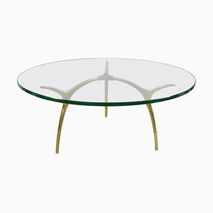 Belgian Coffee Table in Glass and Polished Brass by Koulouri, 1970s