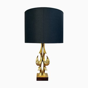 Gilt Brass Table Lamp with Black & Gold Lampshade by Willy Daro, Belgium, 1970s