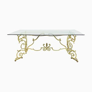 Mid-Century Italian Brass and Glass Console or Dining Table