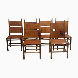 Walnut and Cognac Leather Chairs by Carlo Scarpa for Bernini, 1977, Set of 6