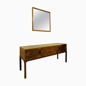 Console Table and Mirror by Kai Kristiansen for Aksel Kjersgaard, Denmark, 1960s, Set of 2
