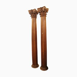 18th Century Sculpted Wood Columns, Set of 2
