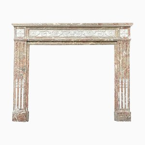 Louis XVI Style Fireplace in Vausort Marble and White Statuary