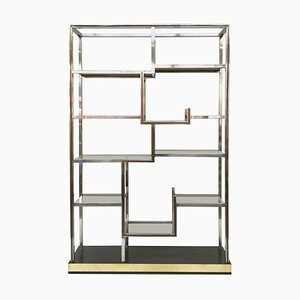 Chrome and Brass Shelf in Smoked Glass by Romeo Rega, Italy, 1970s