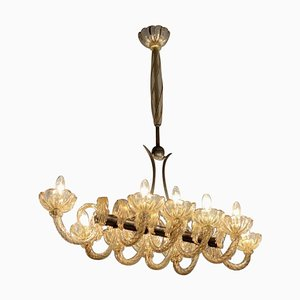 Chandelier in Golden Murano Glass, Venice, 1940s