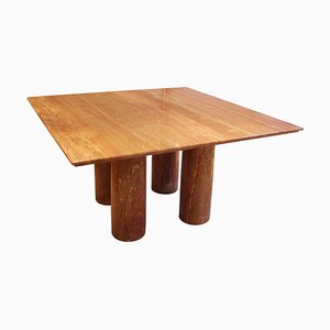 Dining Table in Red Travertine Il Colonnato by Mario Bellini, Italy, 1970s
