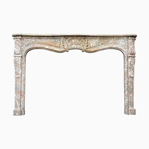 19th Century Louis XV Style Fireplace in Gray Marble of the Ardennes