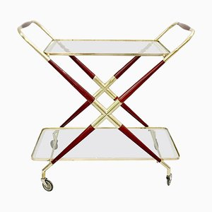 Gilt Brass and Wood Trolley Bar by Cesare Lacca, 1950s
