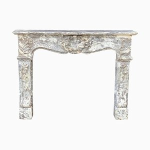 Louis XV Style Gray Marble Ardennes Fireplace