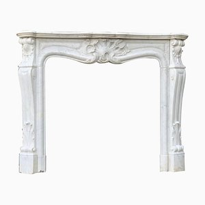 Louis XV Style Carrara White Marble Fireplace
