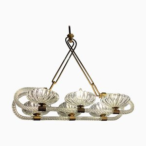 Venetian 6-Light Chandelier by Livio Seguso, 1940s